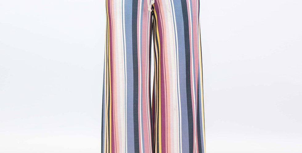 Wide Leg High Waist Striped Maxi Pants