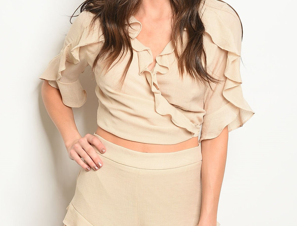 Beige Shorts & Top Set