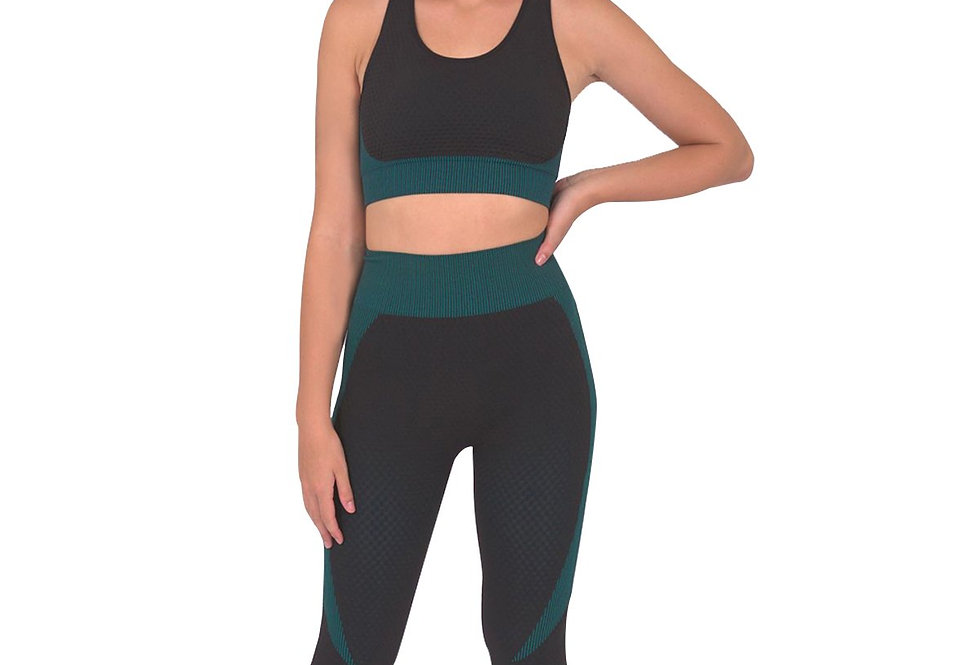 Trois Seamless Leggings & Sports Top 2 Set - Black With Blue