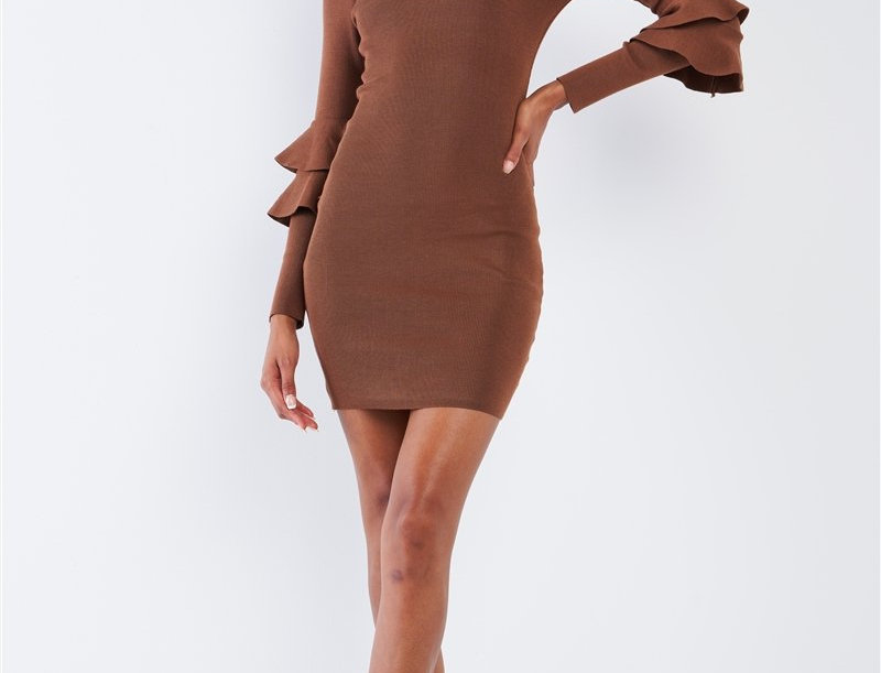 Coffee Brown Body-Con Tight Fit Round Neck Double Frill Sleeve Mini Dress