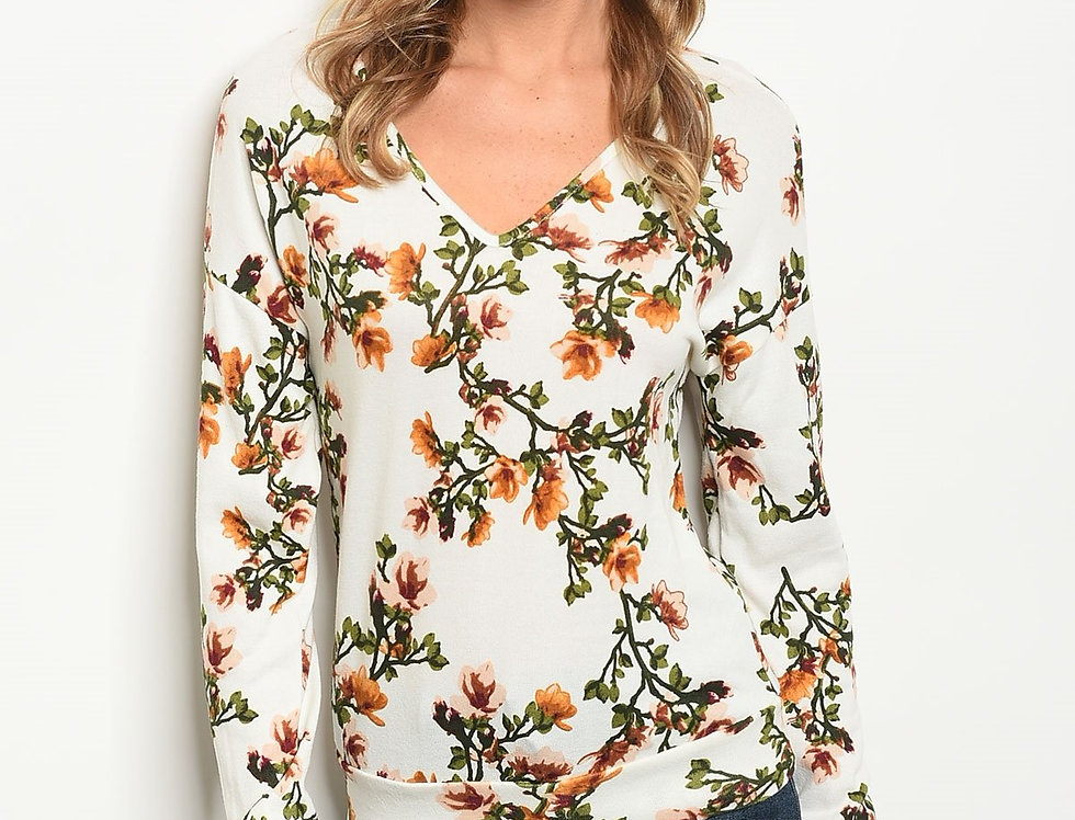 Womens Ivory Floral Top