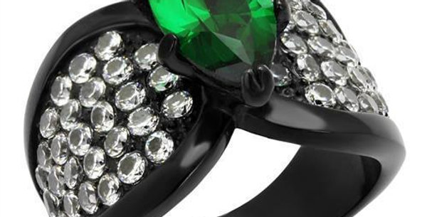 TK1548J IP Black(Ion Plating) Stainless Steel Ring With Synthetic in Emerald