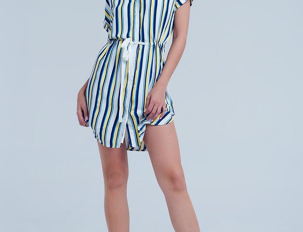 Cream Dress With Stripes