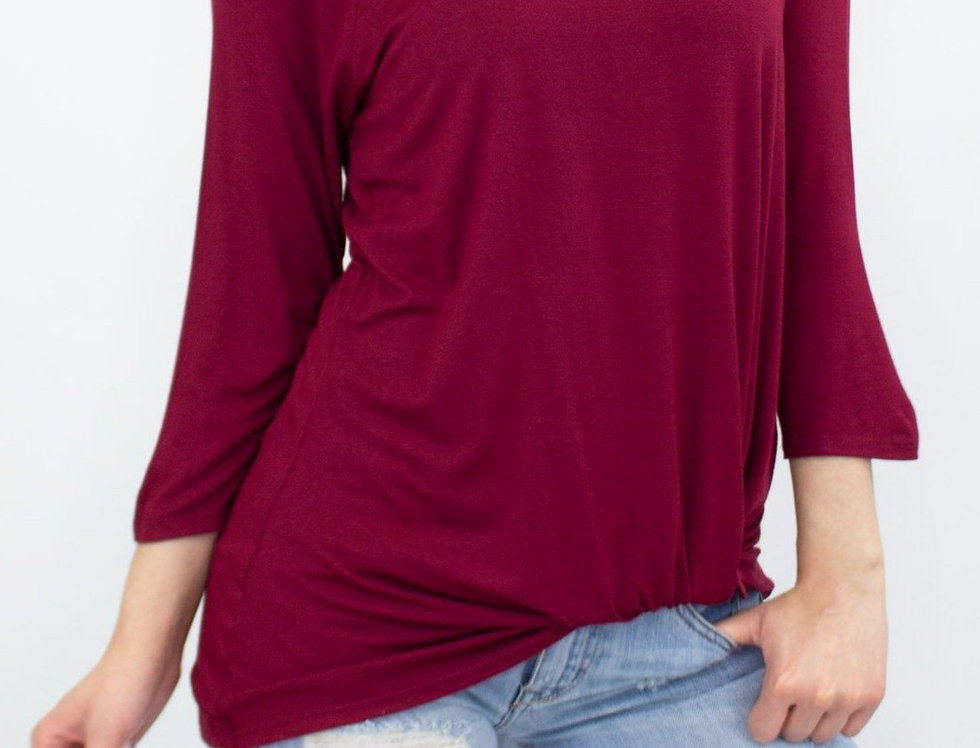 Twisted Front Comfortable Top - Wine
