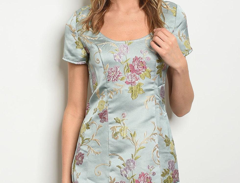 Womens Sage Floral Dress