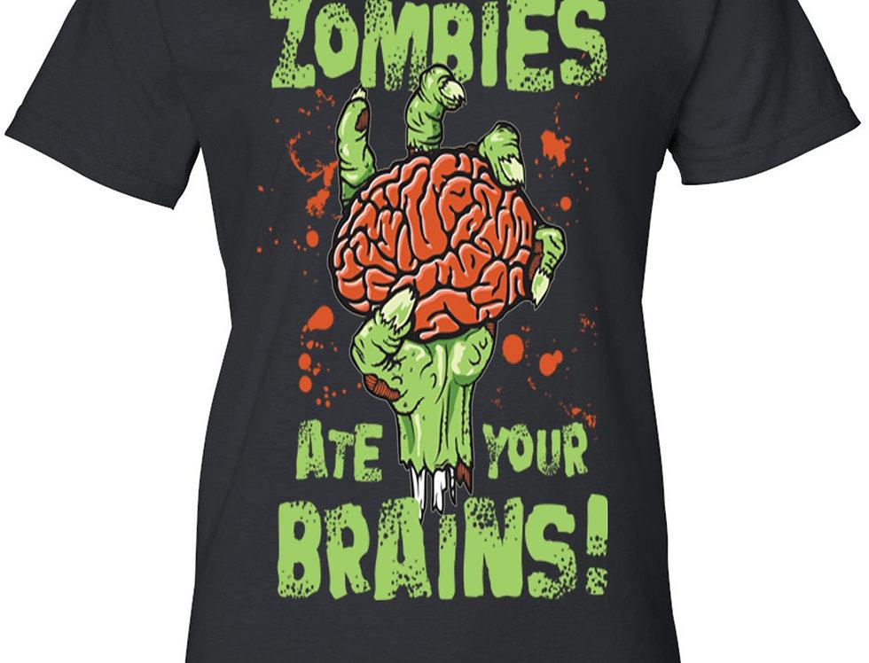 Women's Juniors T Shirt Zombies Ate Your Brain! Graphic Tee
