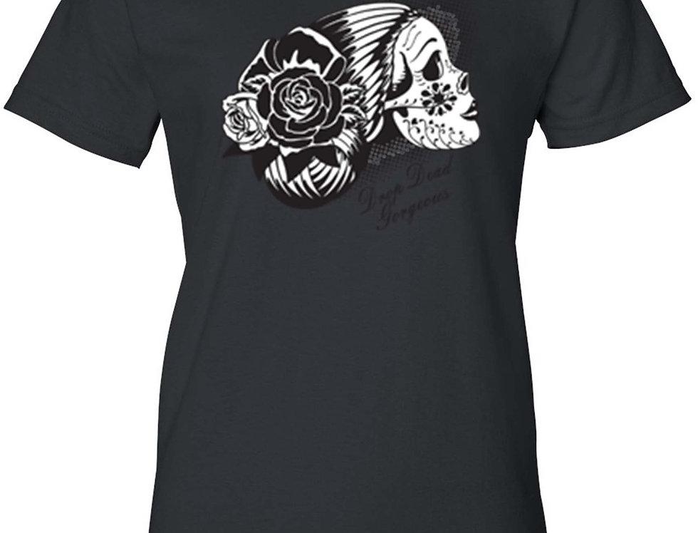 Women's Day of the Dead Sugar Skull Katrina Juniors T-Shirt