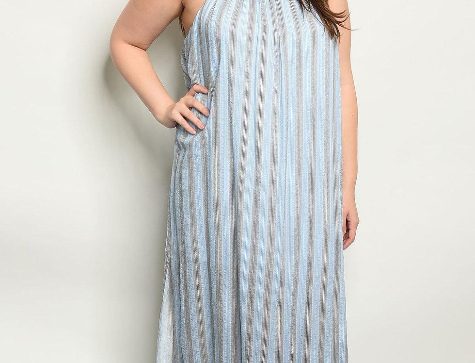 Blue Stripes Plus Size Dress