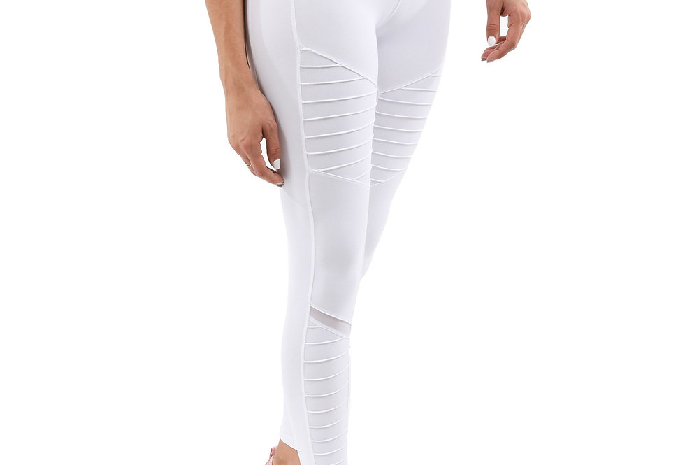 Athletique Low-Waisted Ribbed Leggings White