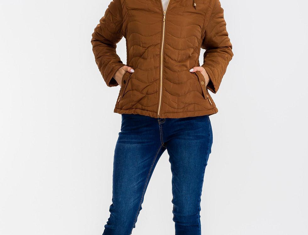 Emmie Faux Fur Puffy Jacket Brown