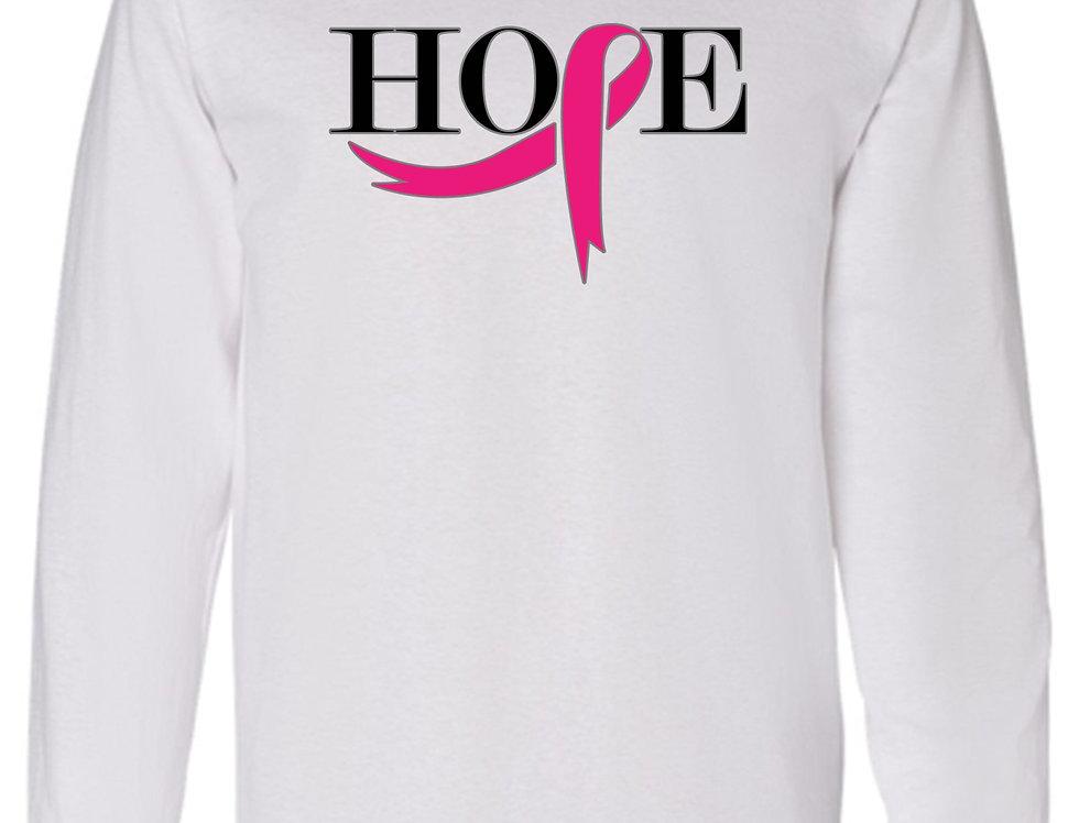 Men's/Unisex Pink Ribbon Hope Breast Cancer Awareness Long Sleeve Shirt