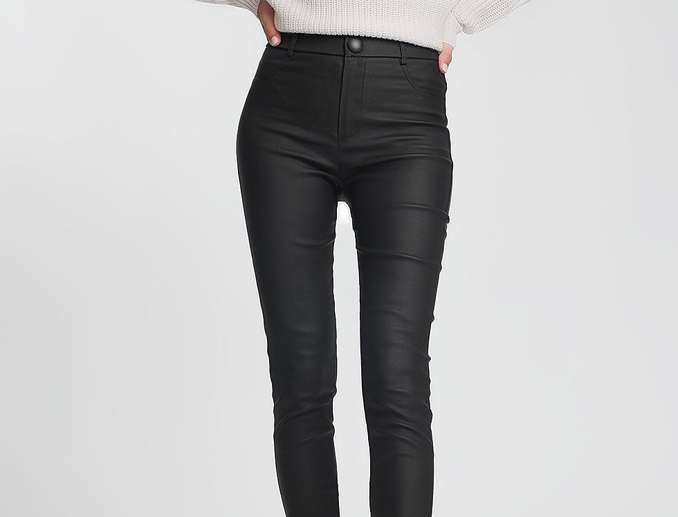Faux Leather Skinny Trousers in Black