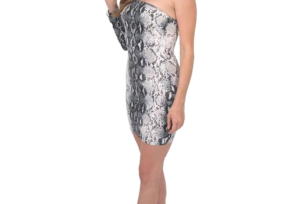 Reeves One-Sleeve Snake Print Mini Dress