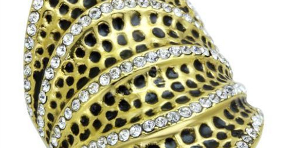 TK1887 IP Gold(Ion Plating) Stainless Steel Ring With Top Grade Crystal in Clear
