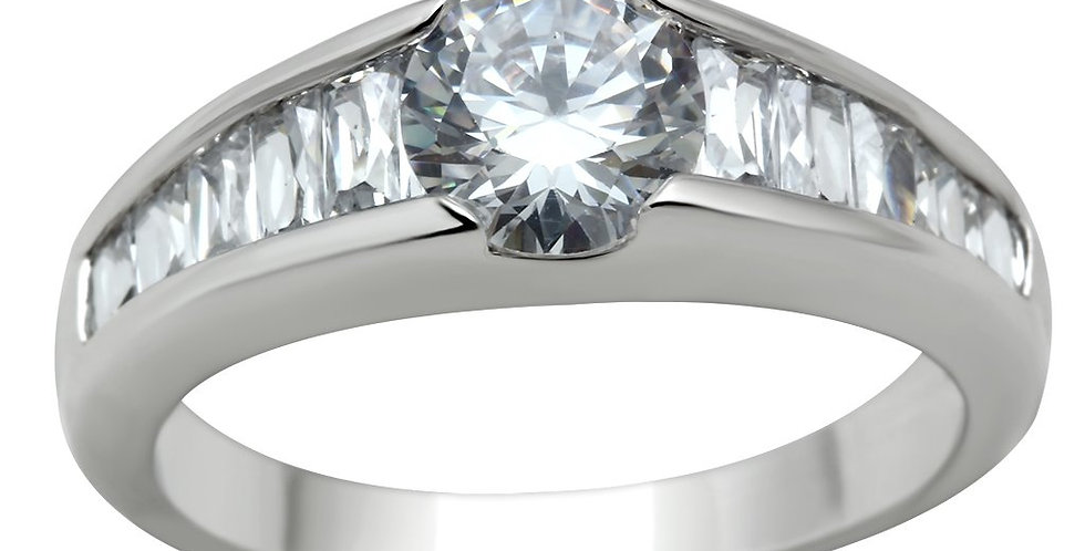 3W133 Rhodium Brass Ring With AAA Grade CZ in Clear