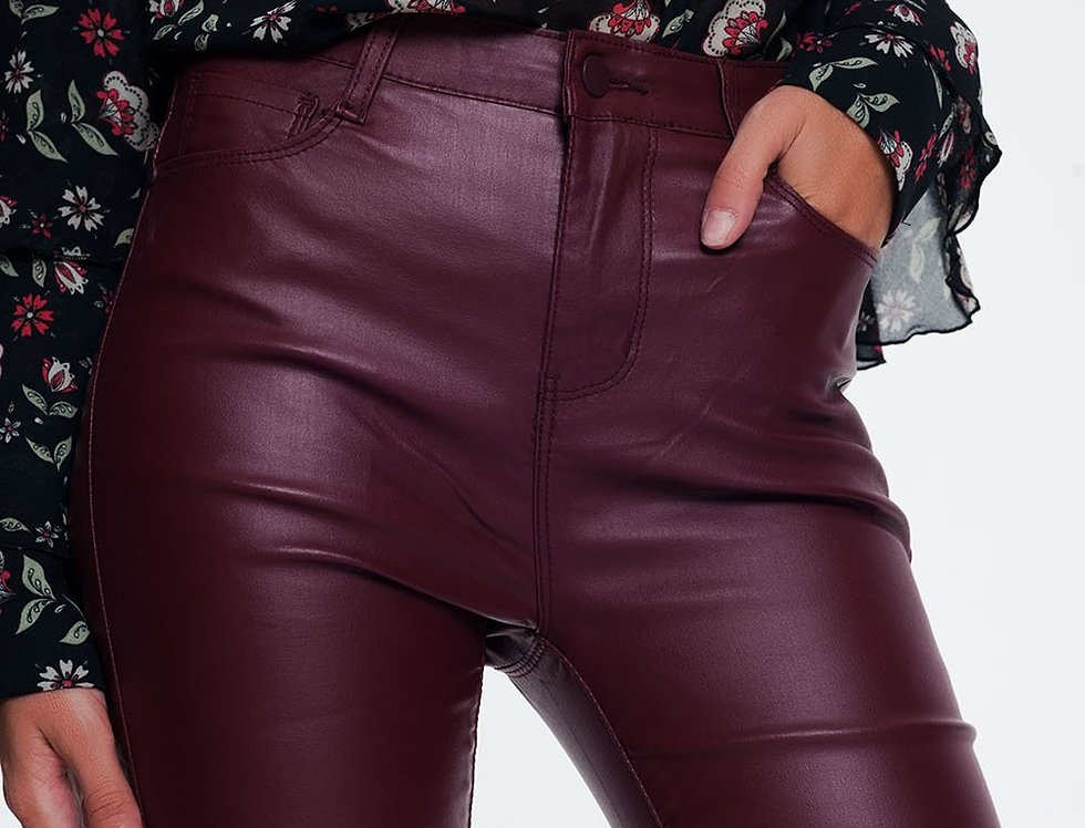 Faux Leather Stretch Pants in Maroon