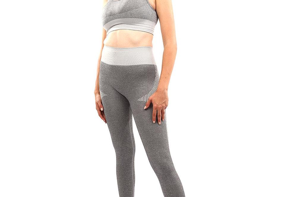 Isalda Seamless Leggings & Sports Bra Set - Grey