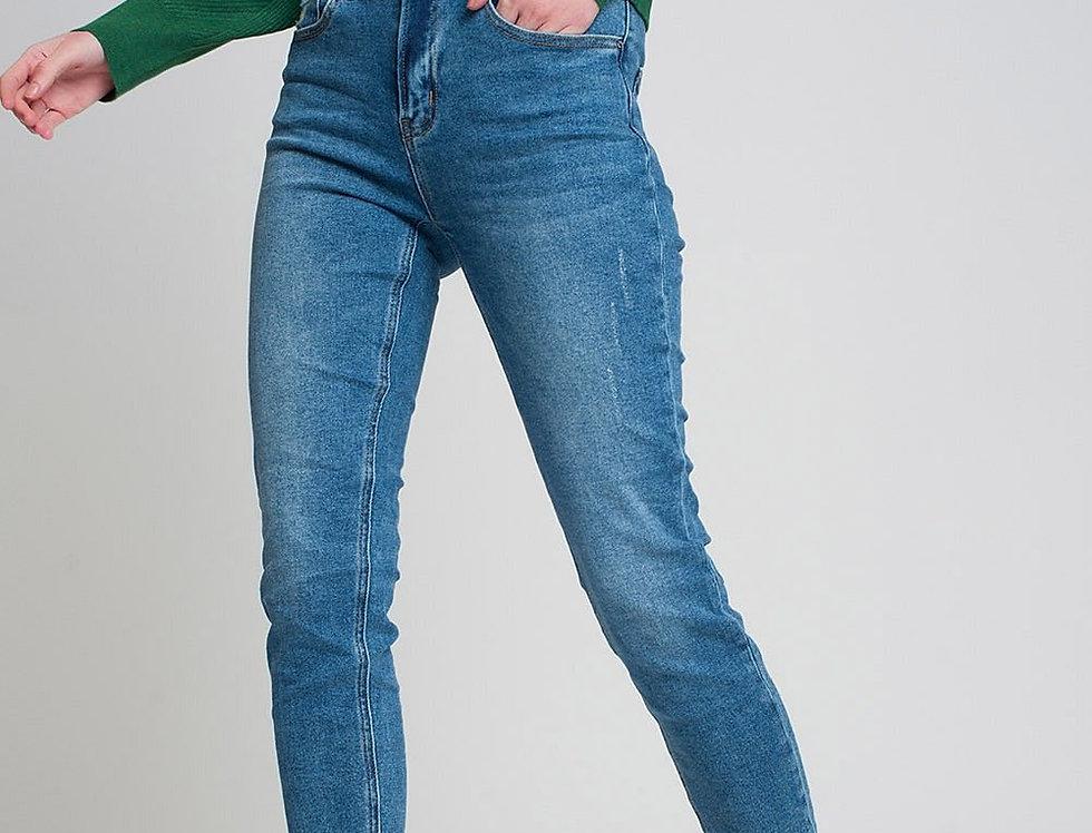 Raw Hem Skinny Jeans in Dark Wash Blue