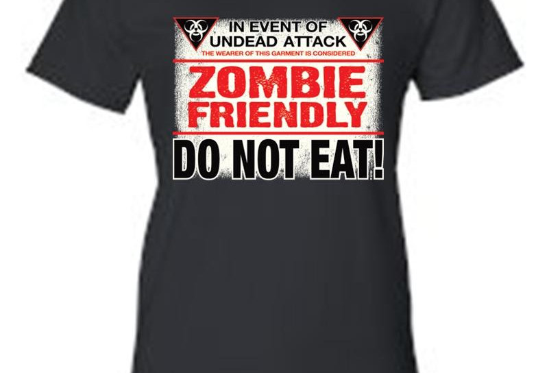 Juniors Funny Funny Zombie Friendly, Do Not Eat! T-Shirt