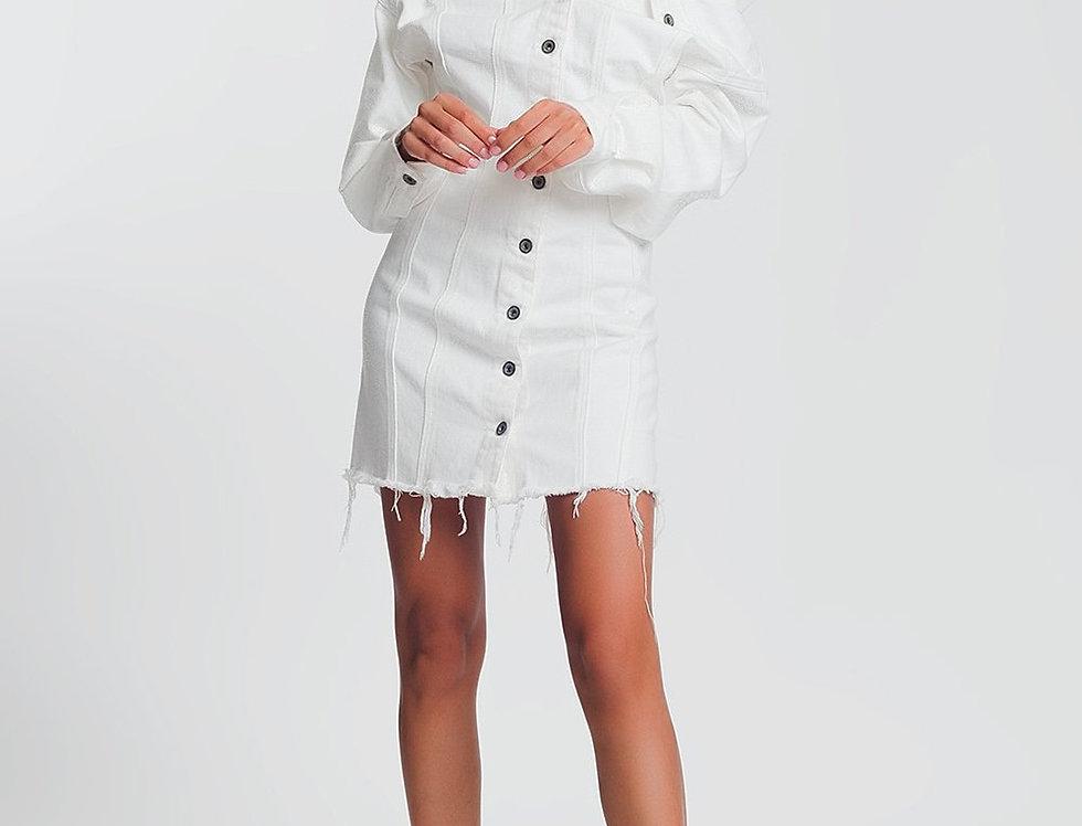 Soft Denim Mini Jacket Dress With Deep v Neck and Raw Hem in White