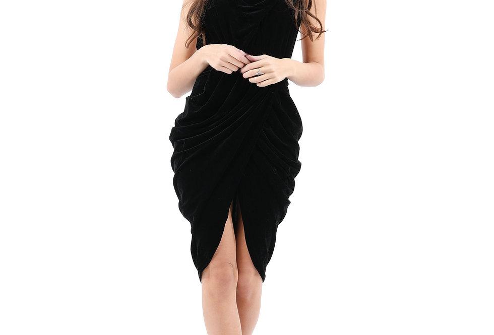 Lawrence Ruched Detail Sleeveless Velvet Dress