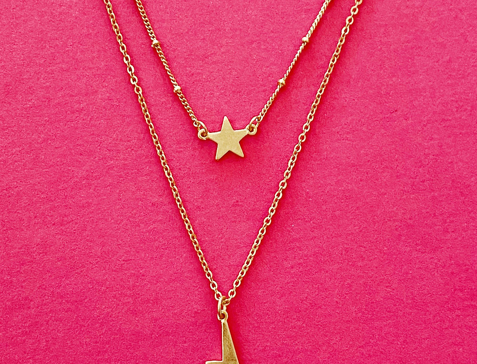 Space and Sky Necklace, Gold
