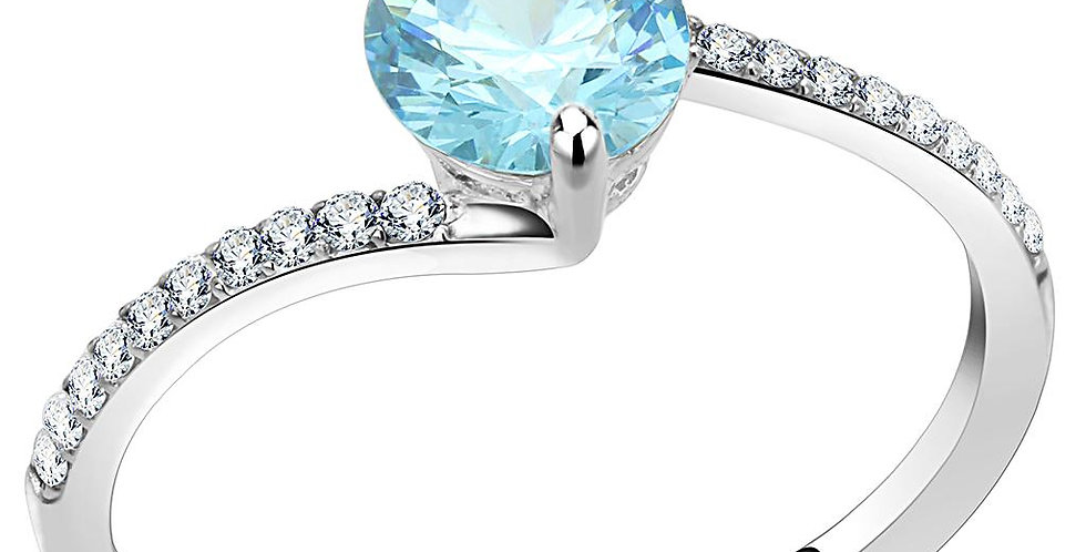 Stainless Steel Ring With AAA Grade CZ in Sea Blue