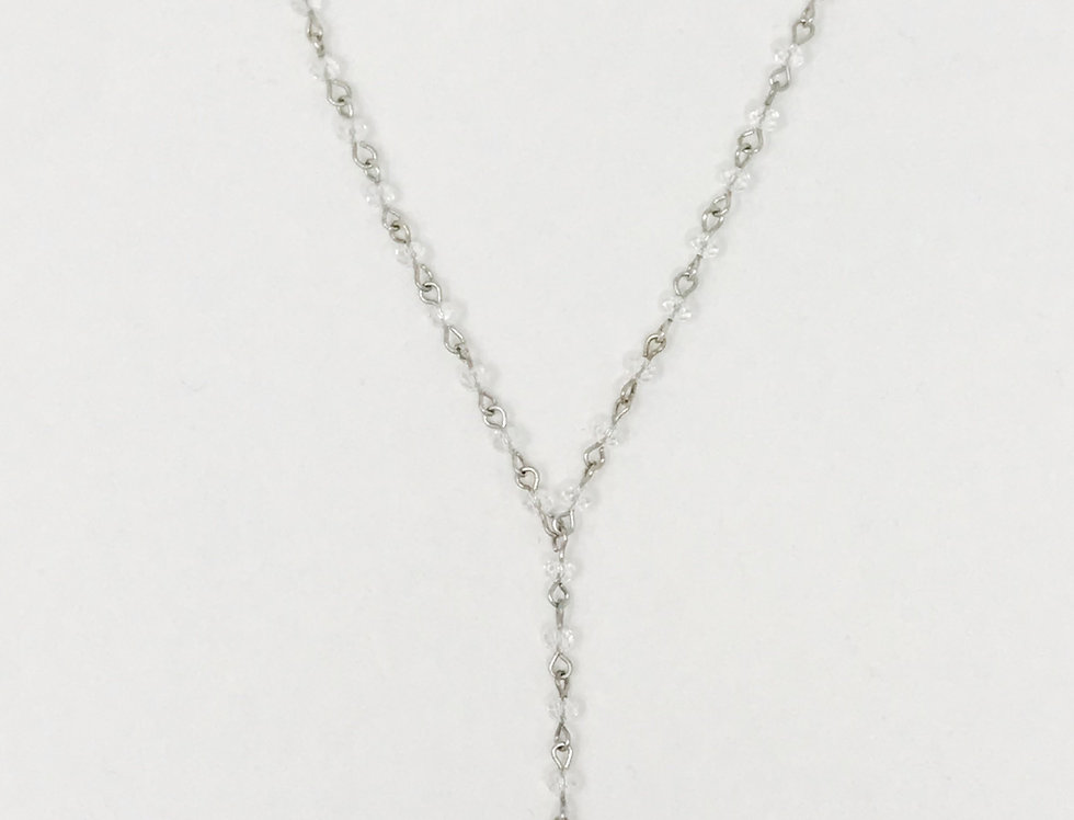 Pave Tusk Necklace, Silver