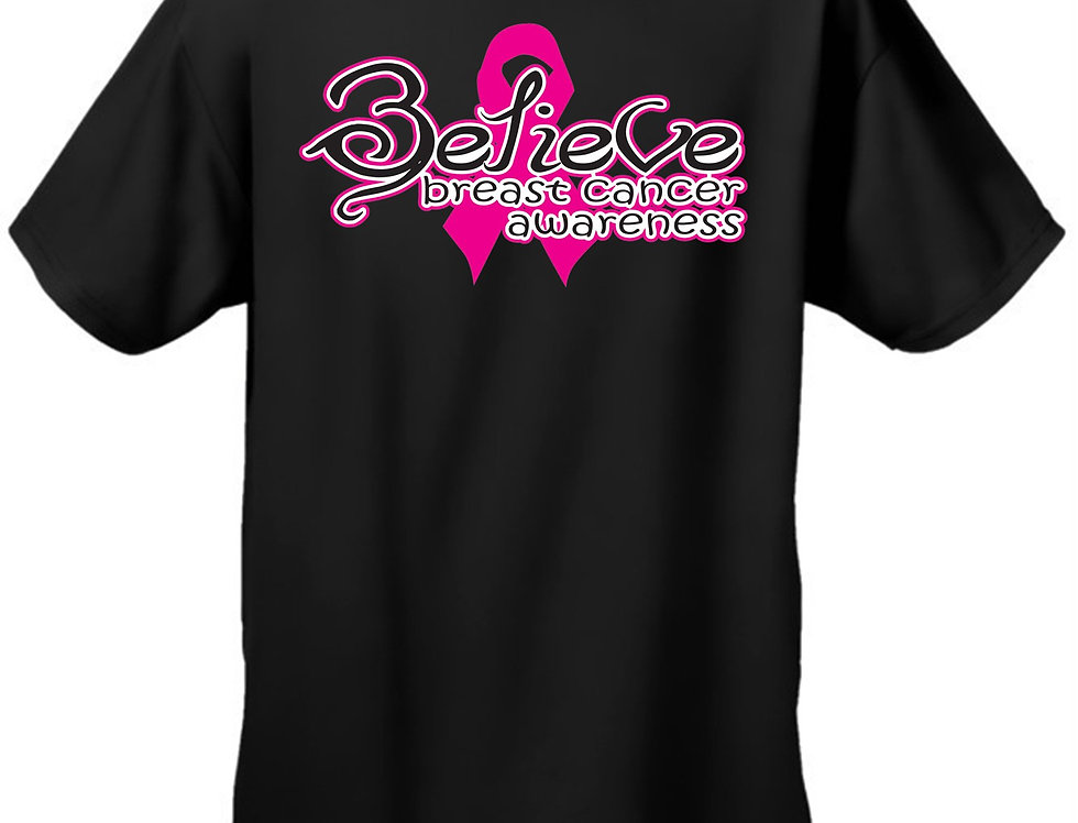 "Unisex ""Believe Breast Cancer Awareness""  Short Sleeve T-Shirt"