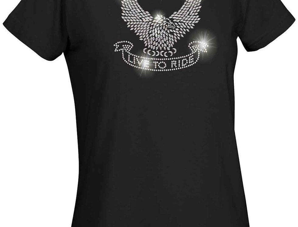 Women's Ladies T Shirt Silver Studs Eagle Live to Ride Graphic Tee