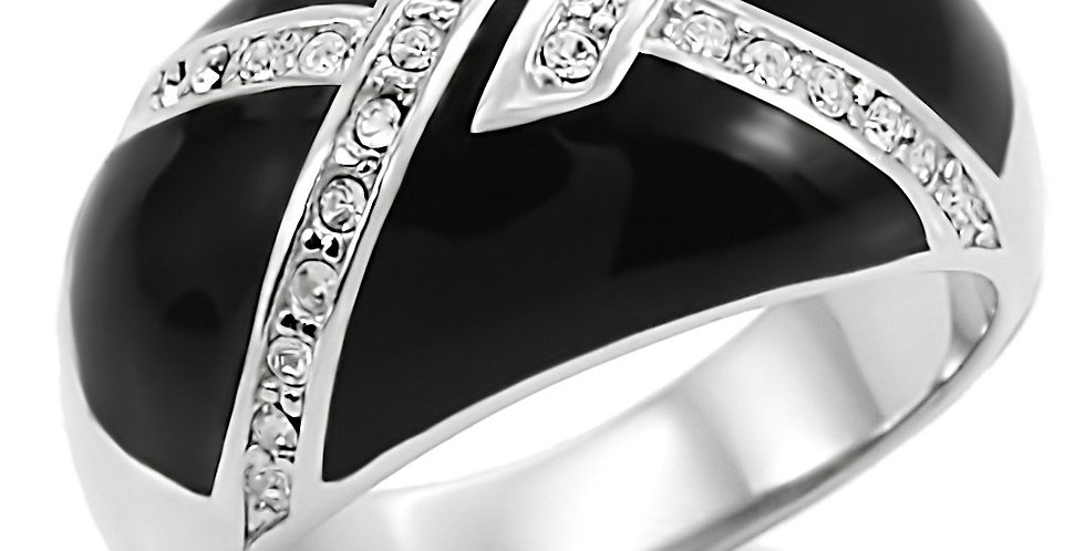 Stainless Steel Ring With Top Grade Crystal in Clear