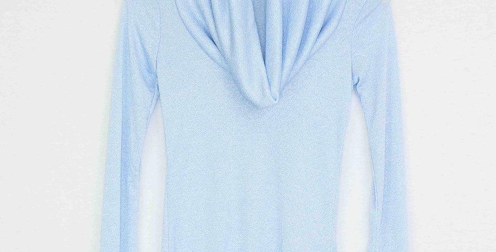 Cowl Neck Shimmer Blue Top