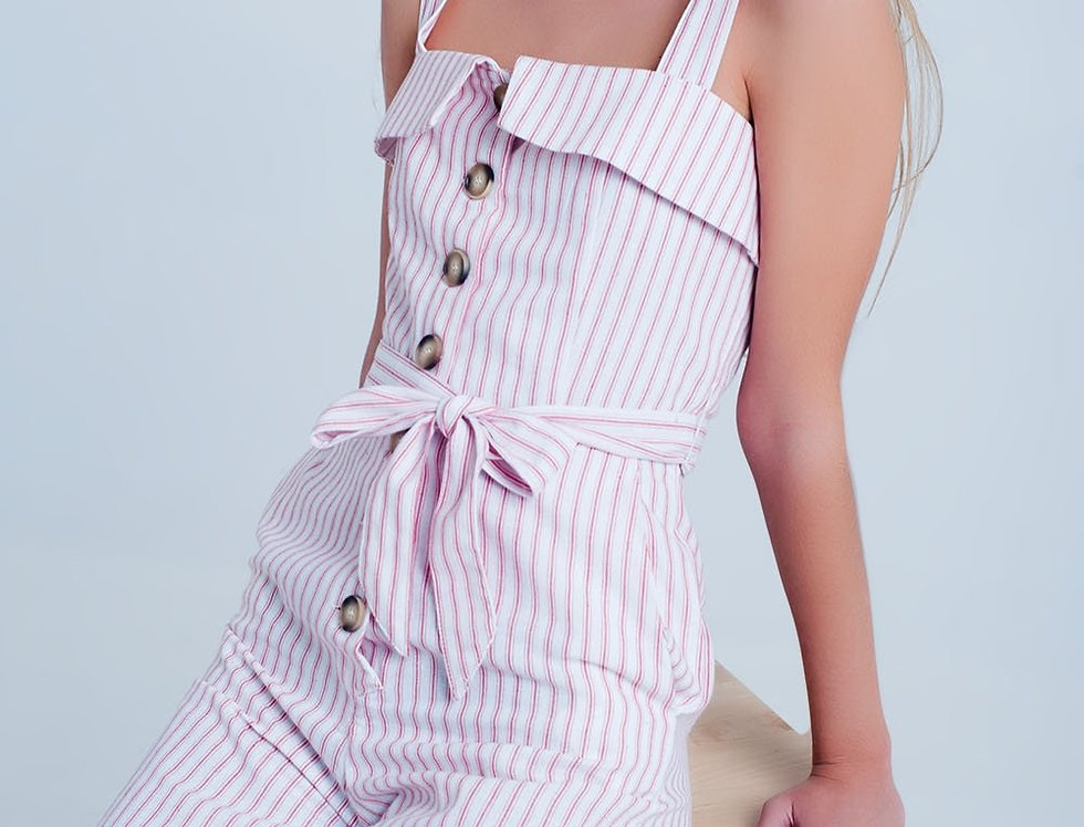 Red Jumpsuit With Square Neck and Button Detail in Stripe