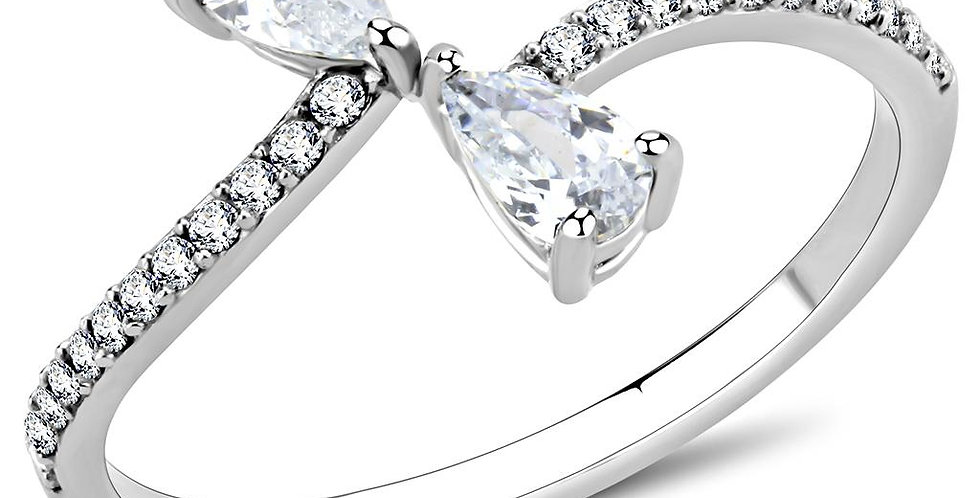 DA139 High Polished (No Plating) Stainless Steel Ring With AAA Grade CZ in Clear