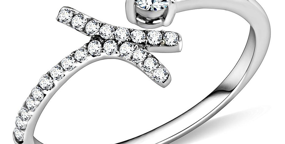DA145 High Polished (No Plating) Stainless Steel Ring With AAA Grade CZ in Clear
