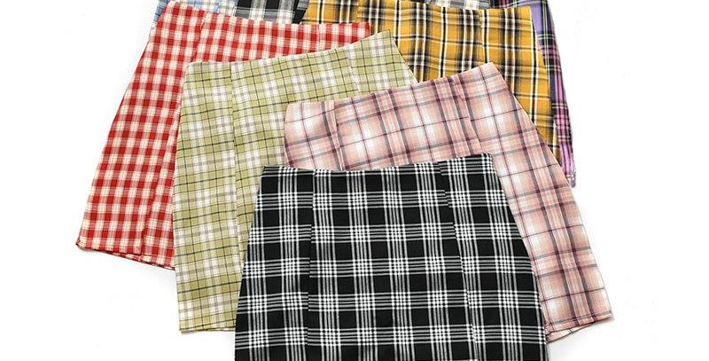 Plaid Skirt   Slim A-Line