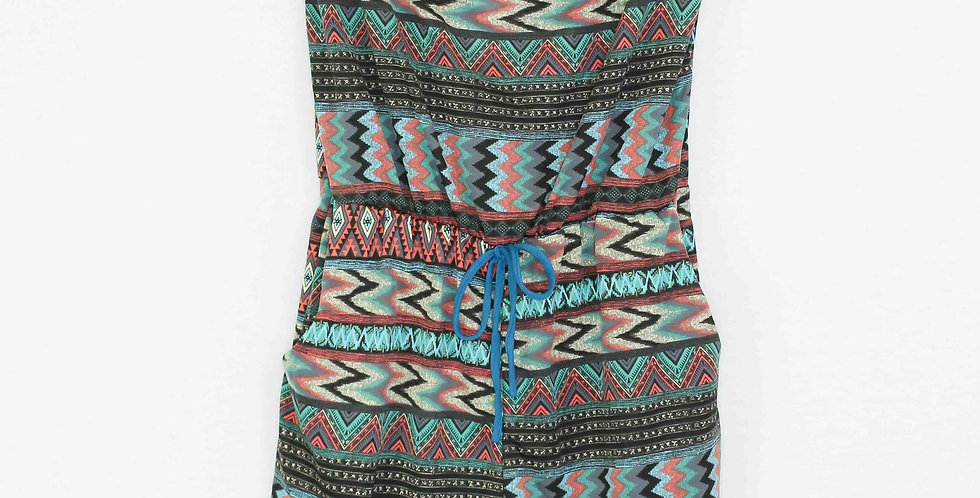 Tube Top Waist Tie Romper With Pockets Mint