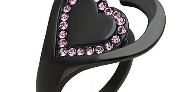 Stainless Steel Ring With Top Grade Crystal in Light Rose