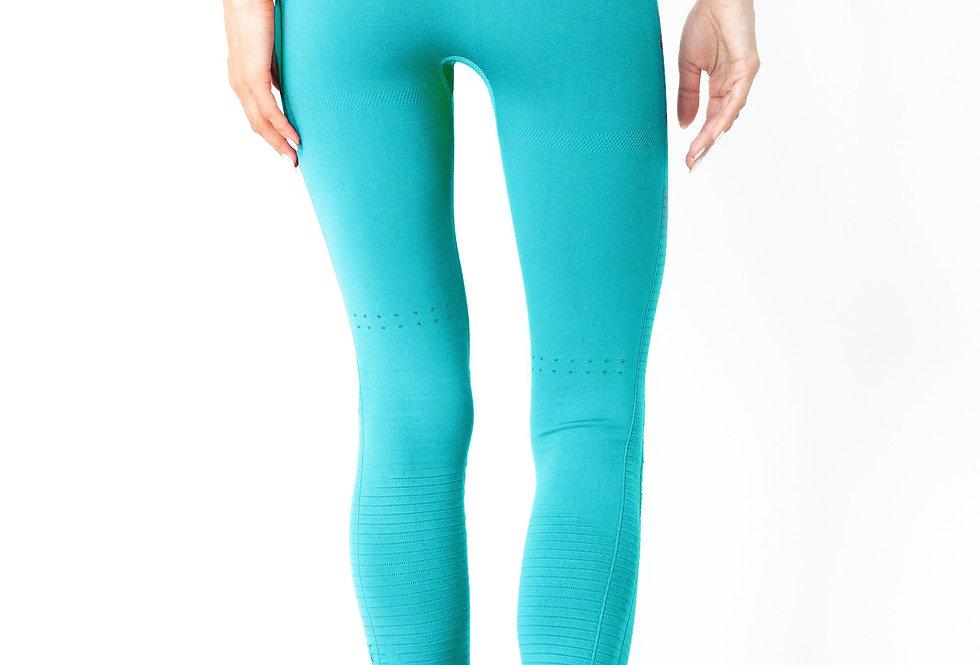 Mesh Seamless Legging With Ribbing Detail - Aqua
