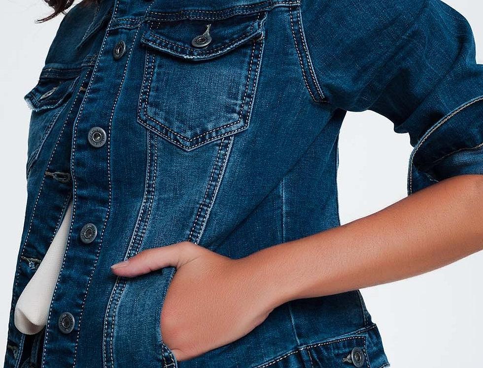 Cropped Denim Jacket in Darkwash Blue