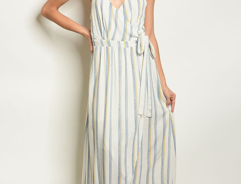 Womens Ivory Blue Stripes Dress