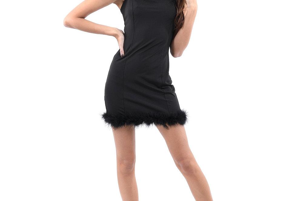 Noel Mini Dress With Fur Hem