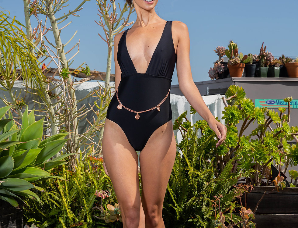 Ladies Black One Piece Soft Cup Front With Rose Gold Waist Chain.