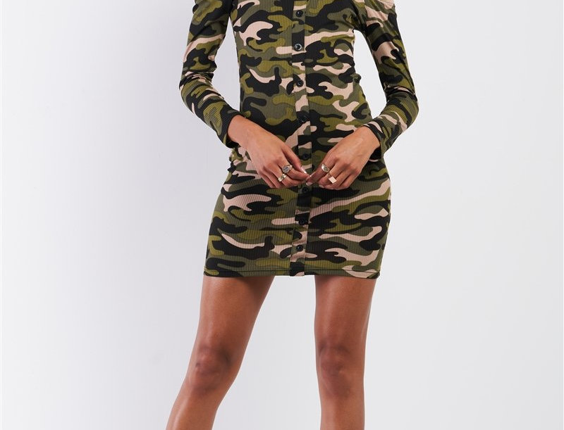 Camo Ribbed Off-The-Shoulder Bodycon Mini Dress