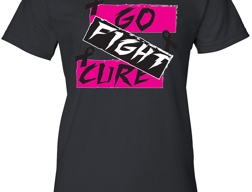"""Juniors Breast Cancer Awareness """"GO FIGHT CURE"""" T-Shirt"""