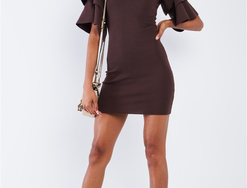 Multi Layer Frill Short Sleeve Mini Dress