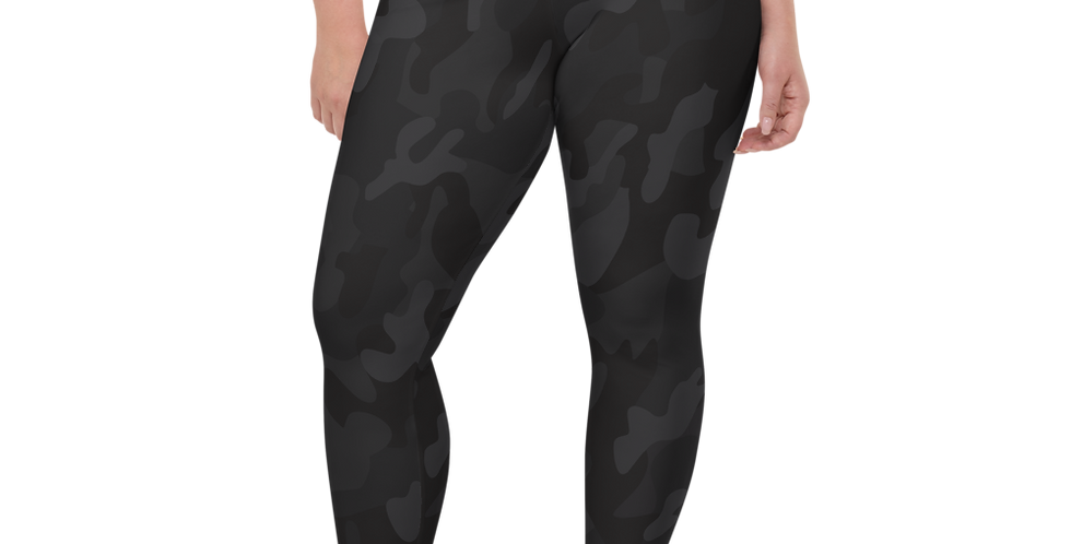 Plus Size Black Camo Womens Yoga Leggings