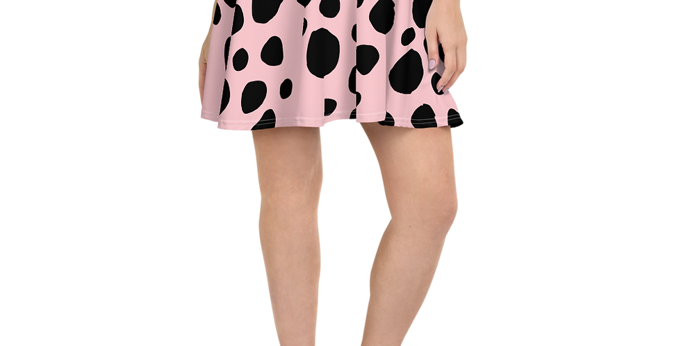 Skater Skirt Pink with Black dots