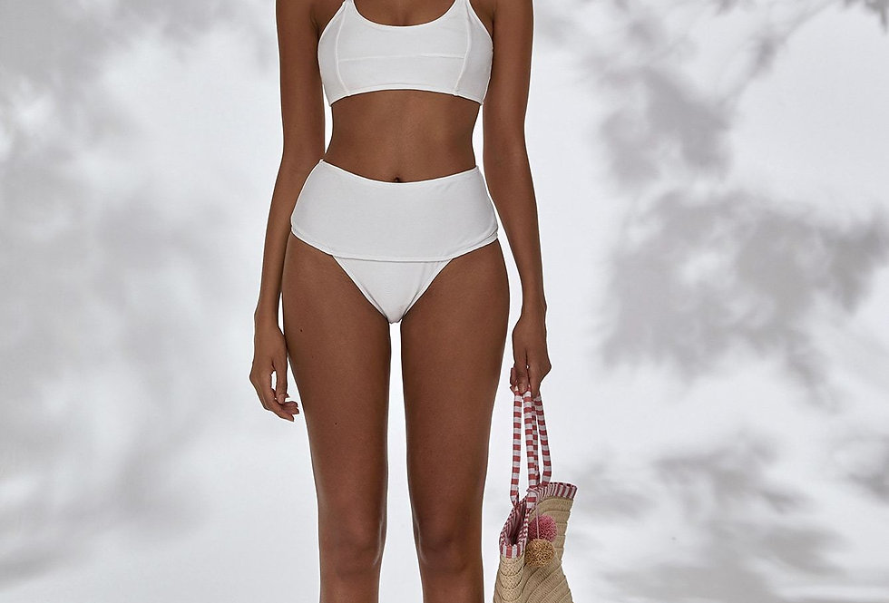 Plain High Waisted Bikini Swimsuit