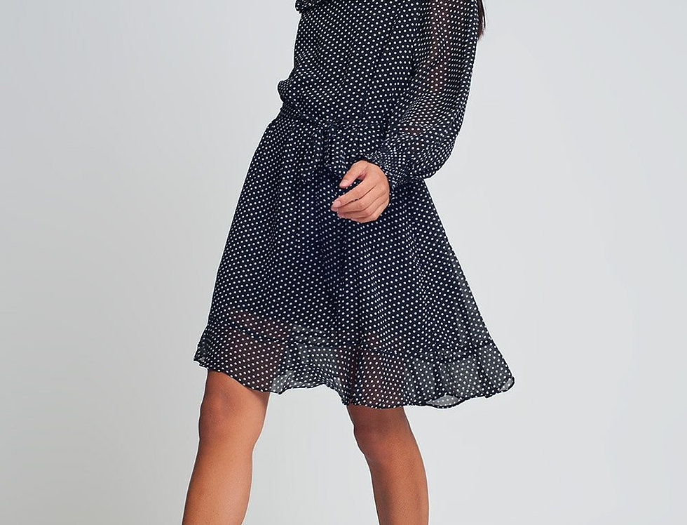 Short Polka Dot Dress With Waistband and Long Sleeves